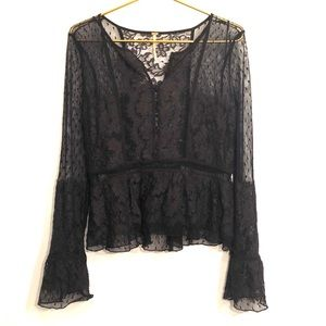 [Free People] Black Lace Long Sleeve Blouse - Med
